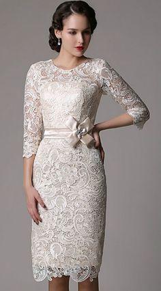 elegant sheath high neck knee length lace wedding dress with lace sleeve wedding dresses with lacelace weddingslace dressesolder bride