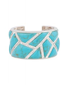 Kara Ross: Wide Maze Cuff , Sterling Silver with Turquoise and White Sapphire Pave