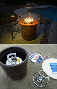 DIY Fire Top From Pizza Pan And Flower Pot