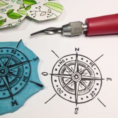 Windrose handcarved rubber stamp by Natàlia Trias