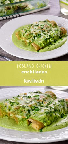 Enjoy these delicious enchiladas with a creamy poblano sauce, gratinated with cheese. A delicious Mexican dish that have to prepare. It´s perfect for any time of the year. Poblano Chicken, Poblano Sauce, Poblano Pepper, Healthy Cooking, Cooking Recipes, Healthy Recipes, Healthy Food, Healthy Mexican Food, Healthy Meals