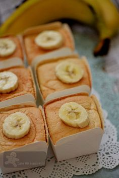 Bake for Happy Kids: Hokkaido Banana Chiffon Cupcakes with Banana Cream...