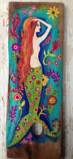 Floral Mermaid Springtime Decor Wall Art by on Etsy Real Mermaids, Mermaids And Mermen, Fantasy Mermaids, Mermaid Fairy, Manga Mermaid, Mermaid Beach, Merfolk, Beach Art, Painting On Wood