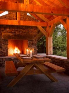 Rustic beams and warm fire...candlelight...