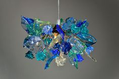 Pendant light with sea color flowers and leaves, hanging chandelier for bedroom, children room.