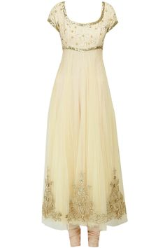 Beige sequins applique detail kurta: Featuring beige cream tulle anarkali with sequins applique detail on yoke and hemline. It comes along with a beige shantoon churidaar and cream net sequin embroidered dupatta with gota border - SHEHLA KHAN