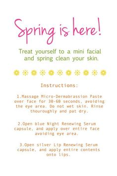 Spring clean your face with Rodan + Field's Microdermabrasion Paste, Night Renewing Serum, and Lip Renewing Serum...all available in a free mini facial. Just contact me! janettepeacock@yahoo.com