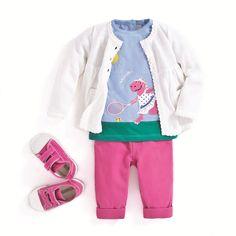 JoJo Maman Bebe Dinosaur Tennis T-Shirt Outfit, Pink Trousers, White Cardie and Pink Trainers. Pink Trousers, Sport, Shirt Outfit, Rain Jacket, Kids Fashion, Windbreaker, Maternity, Girls, Hoodies