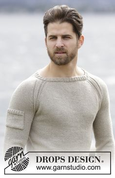 "Carter - Knitted DROPS men's jumper with raglan in ""Belle"". Worked top down. Size: S - XXXL. - Free pattern by DROPS Design"
