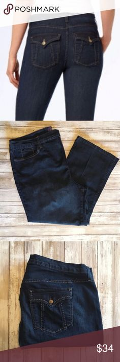 """NYDJ Crop Jeans 244210 NYDJ Crop Womens Cropped Jeans - - Size 22W       Cotton Blend  Great preowned condition with minor signs of washing and wear..    MEASUREMENTS Waist:  20"""" flat across Rise:  14"""" Inseam: 25""""  All items I sell are 100% authentic! Buy with Confidence. NYDJ Jeans Ankle & Cropped"""