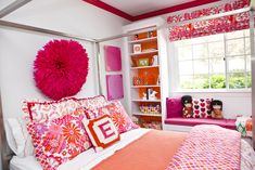Don't want to paint the walls?  Try painting just the trim. #pink #toddler #room