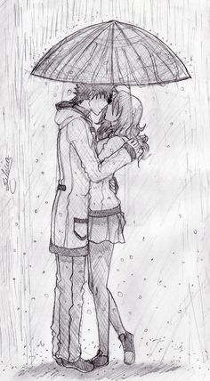 kiss in rain drawing - Google Search