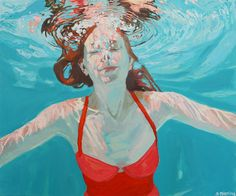 "Suspended, 24x18"", Oil on canvas, 2013/14: SOLD  Look for this painting on the cover of Katherine Heiny's new book ""Single, Carefree, Mellow"""