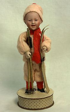 Antique German Heubach Boy with Skis and Poles Candy Container c1910