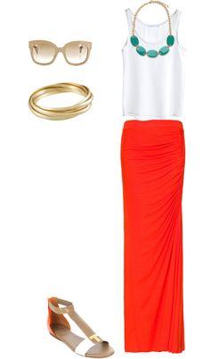 """Orange, White + Tan"" by designandsunshine on Polyvore"
