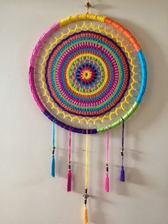 Crochet Wall Art, Crochet Wall Hangings, Crochet Home, Love Crochet, Crochet Dreamcatcher Pattern, Crochet Mandala Pattern, Crochet Patterns, Dream Catcher Decor, Dream Catcher Boho