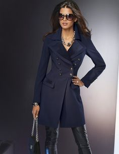 Love the double breasted buttons look on this trench ! Pair it with a Chanel Reissue 255 and knee-high boots from Steve Madden, for a classic + contemporary mix, and we are ready to hit the town, girlie ;)