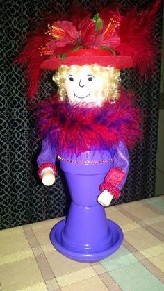 """My own """"Red Hat Rita"""". I just love these clay pot people!"""
