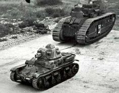 French tanks I believe the smaller one is a Renault R35 and the big one a FCM Char 2C heavy tank