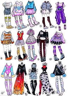 CLOSED-15-pack Outfits by Guppie-Vibes on DeviantArt Cute Cartoon Drawings, Cute Kawaii Drawings, Dress Design Sketches, Fashion Design Drawings, Drawing Anime Clothes, Paper Clothes, Clothing Sketches, Chibi, Art Reference Poses