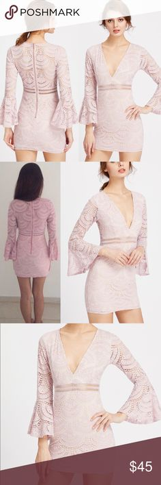 🆕Bell sleeve blush lace bodycon v neck dress Zip back closure Measurements see chart above  Fabric has no stretch   🛍🛍Shop with confidence....I am a Poshmark ambassador, top rated seller, posh and sip host, and two time Poshmark party cohost. Bundle for best discounts. Check back often as new boutique items are added daily. Size not available? Leave a message and if it's available with my wholesale vendors I will order for you at no additional cost🛍 Dresses