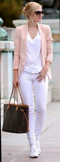 White jeans with pink blazer