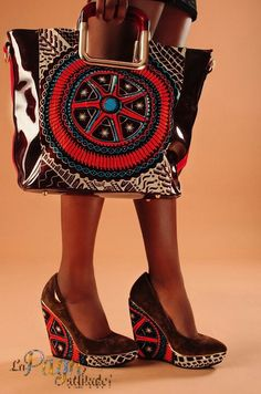 African print shoe and bag.