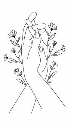 holding hands line flower drawing printable drawings minimal poster tattoo minimalist gift dessin easy owl simple outline embroidery kyla khwite