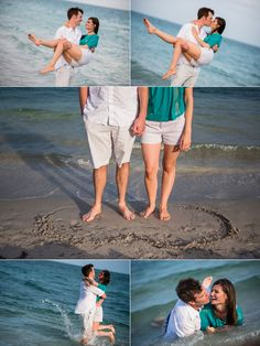Fun engagement session with the couple running into the ocean and rolling around in the sand!