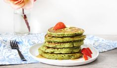 31 Days of Healthy Breakfast   Week 4 Recipes & Grocery List!  (Picture shows Matcha Coconut Pancakes)