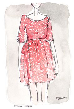Delicate watercolour fashion illustration - pretty floral print dress drawing // Noemi Monclany