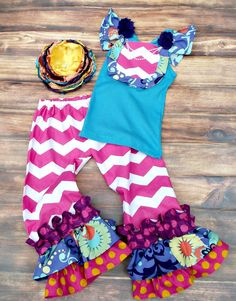 Girls Ruffled Pant Set by PoshPalace on Etsy