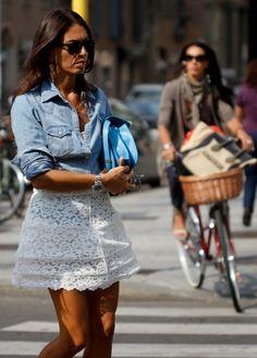 denim chambray shirt + white mini skirt (Viviana Volpicella)