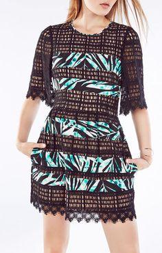 Layna Palms Print-Blocked Lace Dress