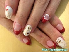 Nail of French Bordeaux and pearl white