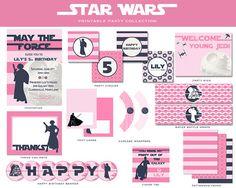 Girls Star Wars Birthday Party Collection, Custom Printable (PBK Inspired, Yoda, Death Star, Girls Party)