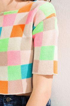 blusa tricot quadri