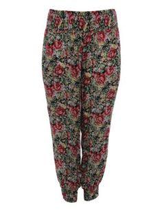 Samya Red and Black Floral Harem Trousers