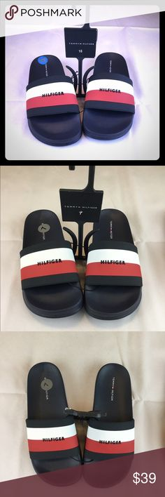 8d99e3358d7e6 Shop Men s Tommy Hilfiger Blue White size 10 Sandals   Flip-Flops at a  discounted price at Poshmark. Description  New Mens Tommy Hilfiger Slide  Sandals.
