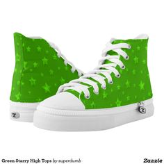 Green Starry High Tops Printed Shoes you at www.zazzle.com/superdumb
