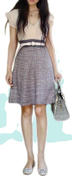 High waisted soft tweed A-line dress with loose fitting contrasting top - make the skirt itself high waisted with a wide waistband