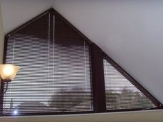 Curtains For Triangular Windows Astound Angle Top Bottom And Triangle Window Treatments Home Interior 11 Mini Blinds, Blinds For Windows, Curtains With Blinds, Window Blinds, Bedroom Windows, Window Seats, Window Sill, Attic Doors, Attic Window