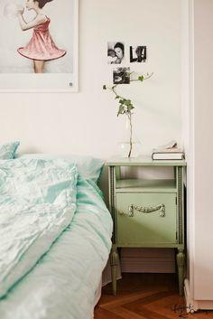 linen bedding in a great aqua hue
