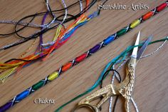 Hair Wrap, Hair Braid, Tie In, Charms, Beads, Hair Jewelry, Hippy - Chakra - Silver & Black - Rainbow criss cross pattern + instructions by SunshineArtists on Etsy