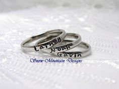 Personalized Stacking Ring 3 mm Wide Name by SnowMountainDesigns
