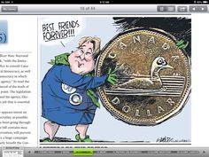 Globe and Mail political cartoon. Canadian Politics, Loonie, Quebec