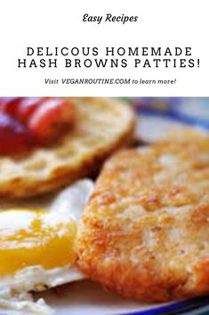 These are super crispy cheesy hash browns are absolutely delicious, and so simple to make - they'll be on your plate for breakfast in no time. Vegan Recipes Beginner, Best Vegan Recipes, Vegan Breakfast Recipes, Recipes For Beginners, Vegan Snacks, Hash Brown Patties, Cheesy Hashbrowns, Patties Recipe, Hash Browns