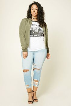 Forever 21+ - A pair of denim jeans featuring a distressed design, a five-pocket construction, and zip fly.
