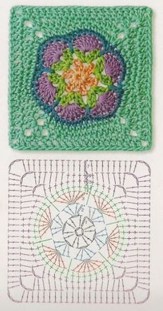 African flower in square Crochet Motif Patterns, Granny Square Crochet Pattern, Crochet Diagram, Crochet Chart, Knit Crochet, Crochet Squares, Grannies Crochet, Crochet Blocks, Motifs Granny Square