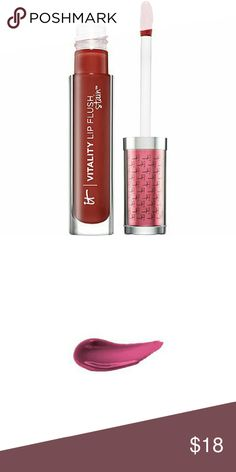 "Last chance!! It Cosmetics Hydrating Gloss Stain New in box! It Cosmetics Vitality Lip Blush Hydrating Gloss Stain - color is ""wine berry flush"" - a rich burgundy shade It Cosmetics  Makeup Lip Balm & Gloss"